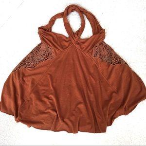 Free People Crochet Lace CrossBack Rust Tank- XS
